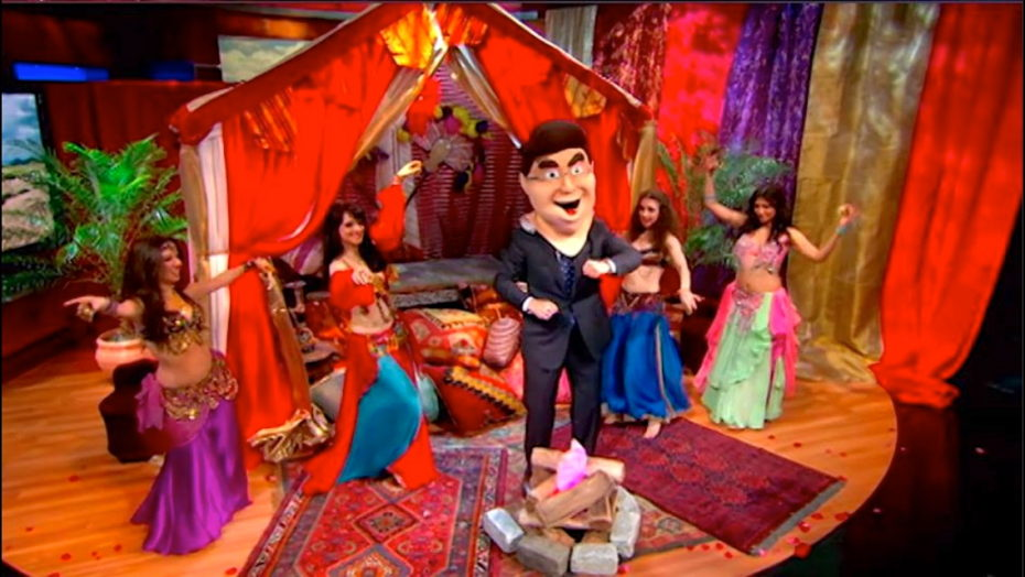 Sira NY and Infinity bellydance on national TV, dancing with a giant puppet on the Colbert Report