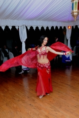 Sira thrills the attendees of a Morracon Night. She is wearing luxurious red costume